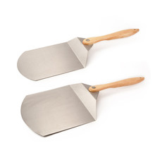 Folding stainless steel pizza peel with wooden handle for brick oven