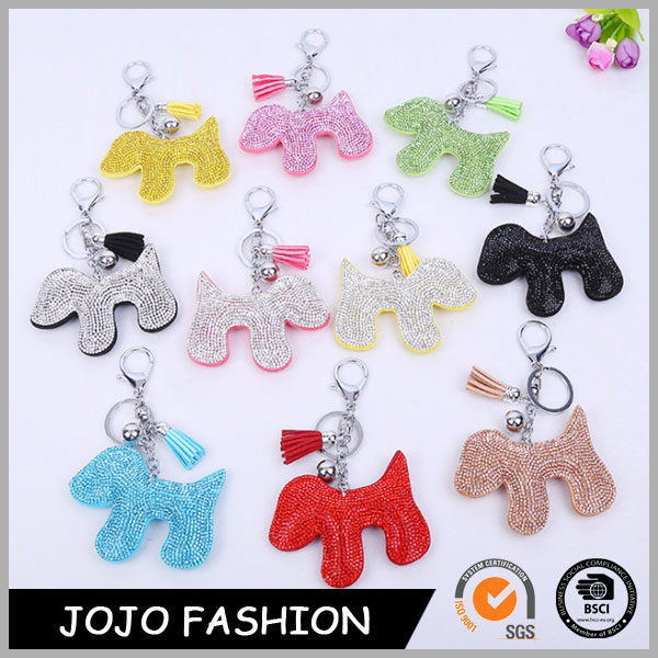 Lovely Animal Dog Shaped Colorful Rhinestone Keychain