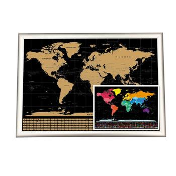 Large Size 56x83.8cm Gold Foil Printing Black Scratch Off Map Poster
