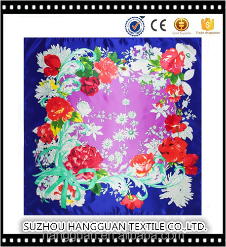 2017 New Design 90 cm * 90 cm Rose Flower Lady Polyester Oil Painting Shawl Square Silk Scarf Customized