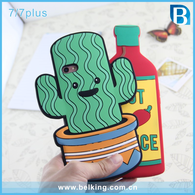 Cactus Cartoon Jelly Soft Phone Rubber Shell Silicon Case For iPhone 6 6Plus 7 7Plus