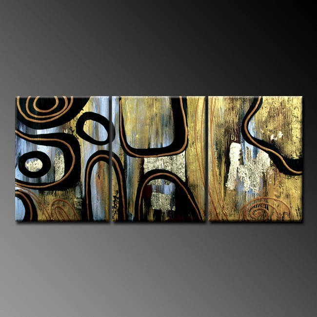 abstract handmade orange scene group 3 panel oil painting on canvas
