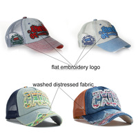 popular washed 5 panel distressed trucker cap wholesale, washed baseball cap trucker cap, washed baseball cap mesh hat with cust