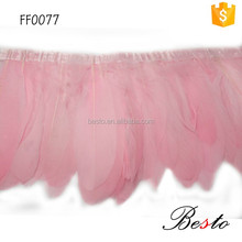 Bulk dyed light pink goose feather trimmings for garment accessories