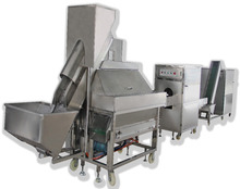Onion peeling- root cutting-slicing processing machine