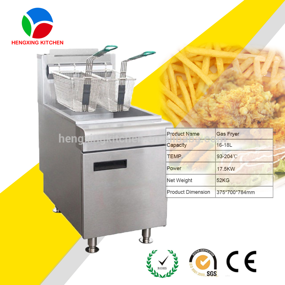 High Quality Single Tank Double Basket Chip Fryer with Temperature Control/ Gas Deep Fryer