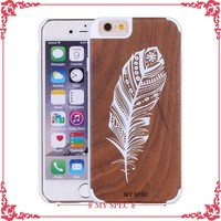 natural bamboo wooden pc hard phone cover case for iphone 6s