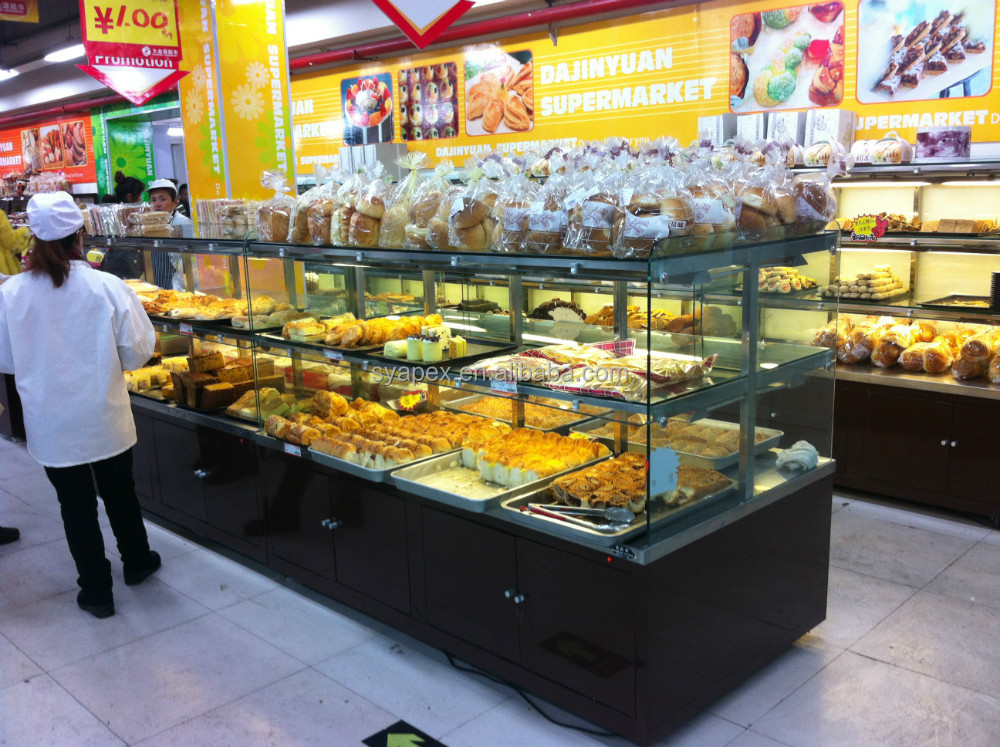 APEX double sides acrylic middle double island bread display case/display bread showcase