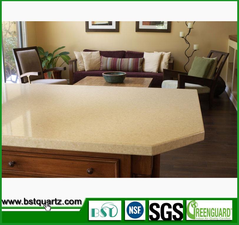 amarillo losas de piedra de cuarzo artificial para encimera de la cocina artificial encimeras de