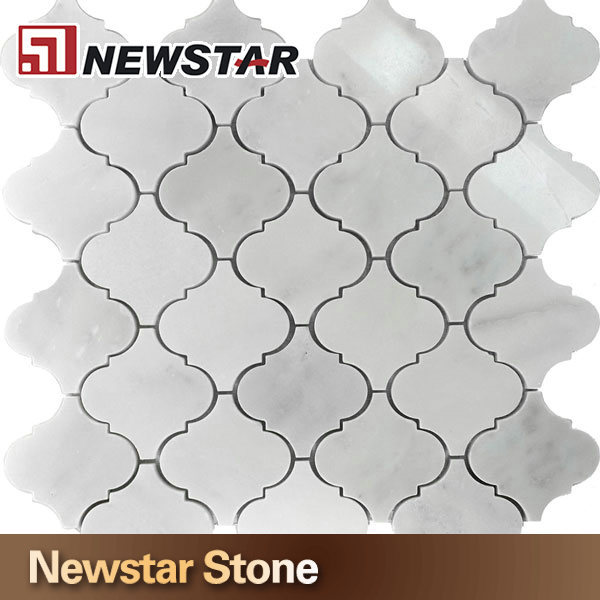 White Carrera Marble Medium Lantern Shaped Mosaic Tile,mosaic marble backsplash