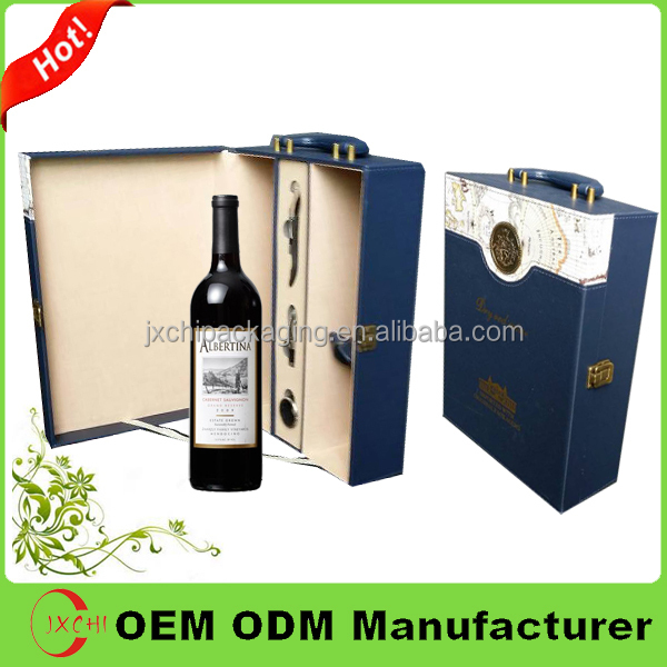 Italianate style custom 2 bottles leather wine carrier
