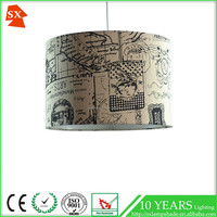Ikat industrial jungle light grey scallop screen print fabric table lamp shade