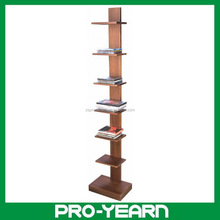 Wooden Bookcase CD Rack Organizer Shelf with 6 Tiers and Base for Book and CD Display and Storage