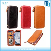 2017 newest Universal two smart phone wallet style flip leather case for mobile phone