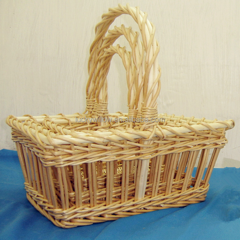 Rectangle natural colour wicker storage baskets with handle