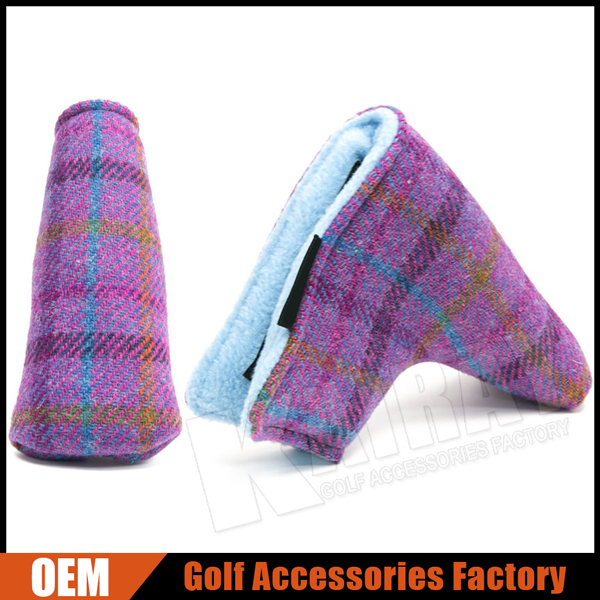 Factory Customize Retro Tweed Golf Putter Head Covers, Winter Golf NEW