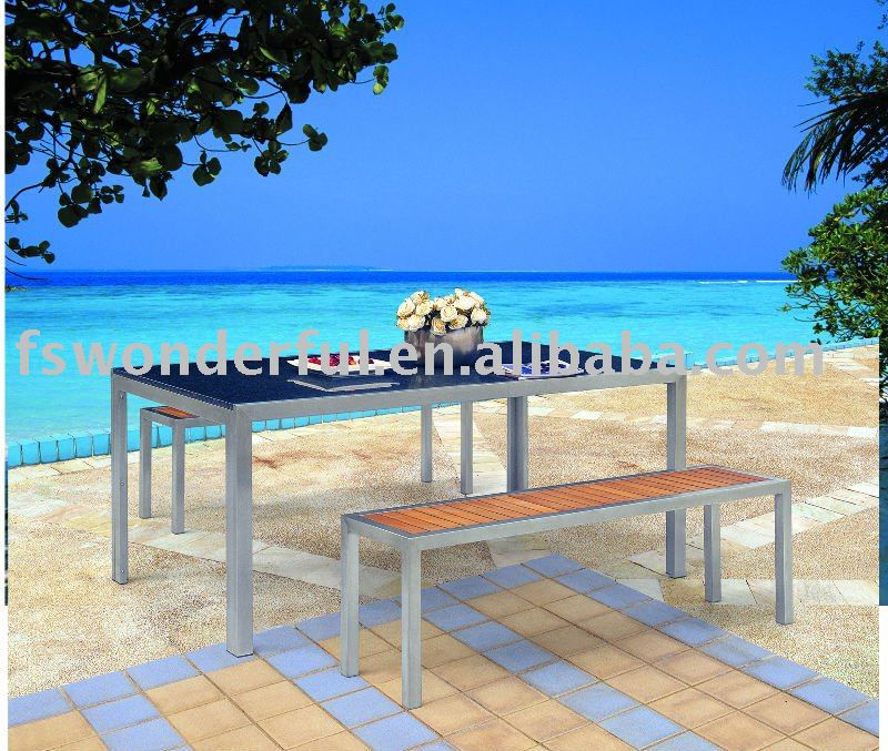 WF-2113 outdoor teak bench natural solid granite garden furniture
