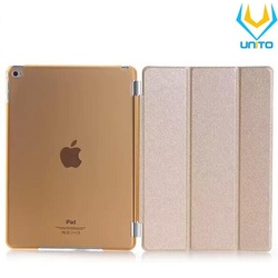 Single front PU cover+transparent matte PC back cover case for iPad air 2