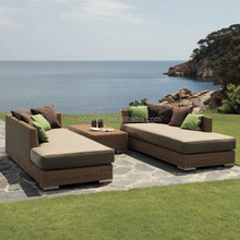 Super comfortable modern villa patio recliner sofa with armrest and coffee table pool furniture wholesale