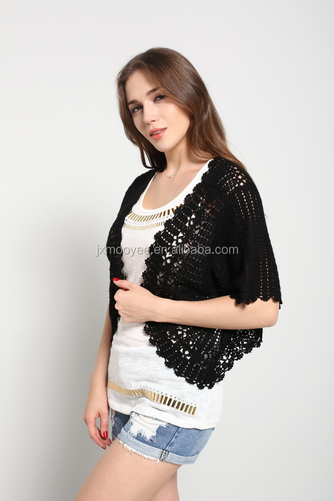 Ladies' hand crochet sweater short sleeve Bolero cardigan
