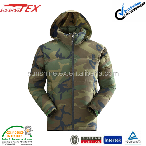 men's high quality fashion 80% down 20% feather hooded plus size down jacket in camo