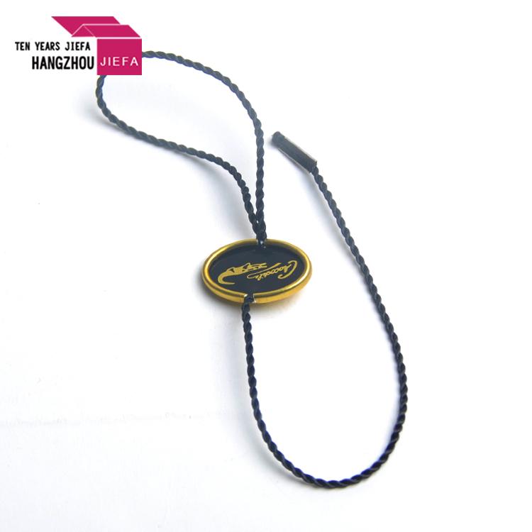 Hot silver stamping seal tag logo/seal tag with nylon string