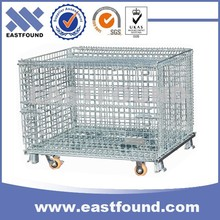 Lockable wire mesh warehouse metal storage cage with wheels