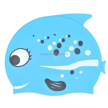Wholesale fish shape silicone swimming cap,swimming cap for kids