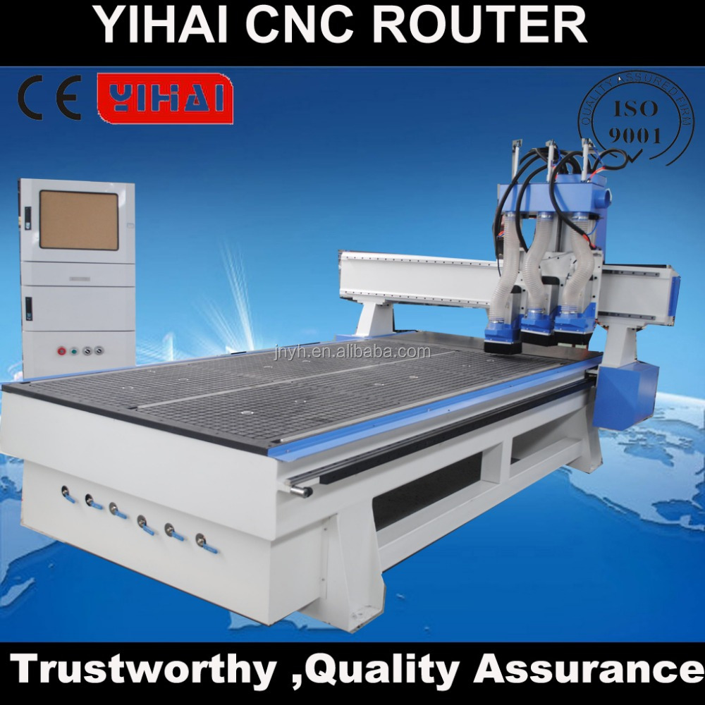 Economic 3 axis pneumatic 3 heads ATC spindle cnc router 1325 with import servo motor/driver