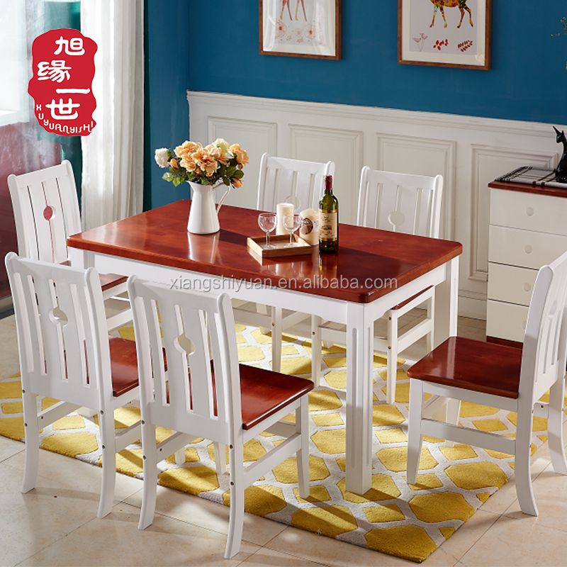 home use solid wood dining room furniture modern dining table set with 6 chairs
