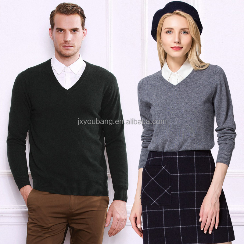 2017 hot sale casual style v neck unisex woman and man sweater