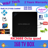Factory Price Android 5.1 Lollipop TV Box RK3368 Octa Core 2G/8G 1000M LAN Dual Band WIF HDMl Beeing link I68