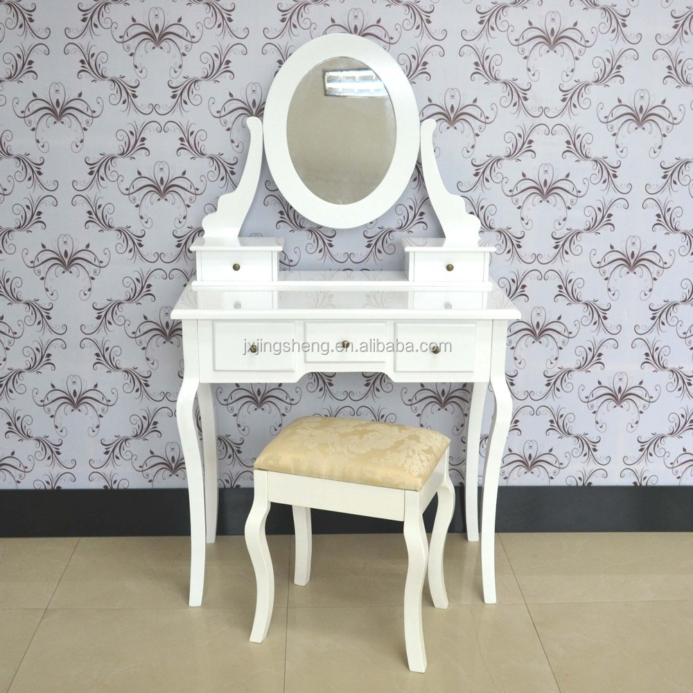 Wooden white painted modern dressing table set with mirror and stool