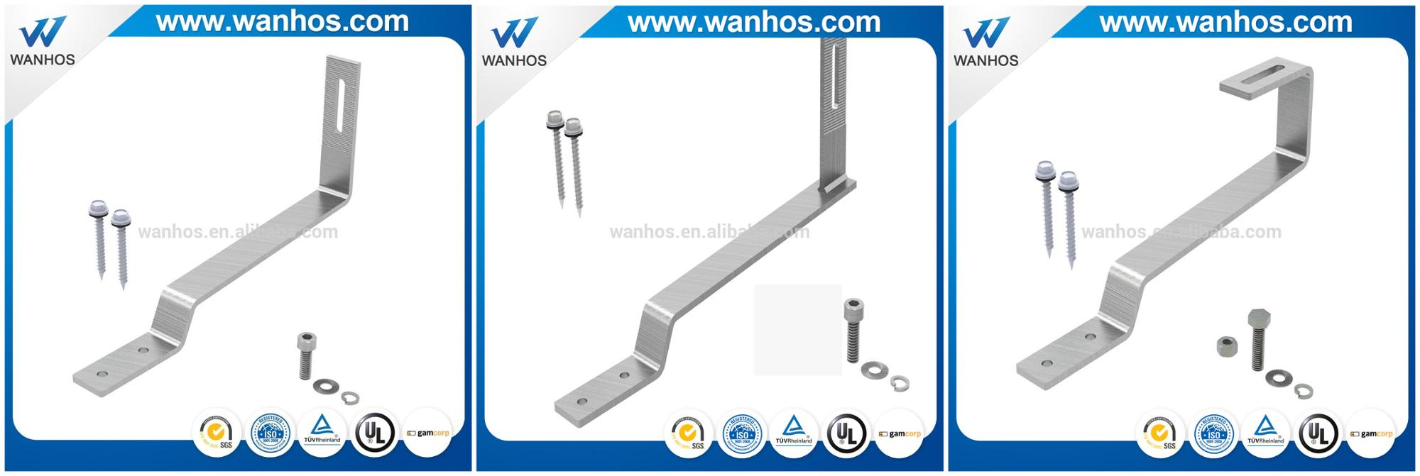 Flat tile solar roof stainless steel hook