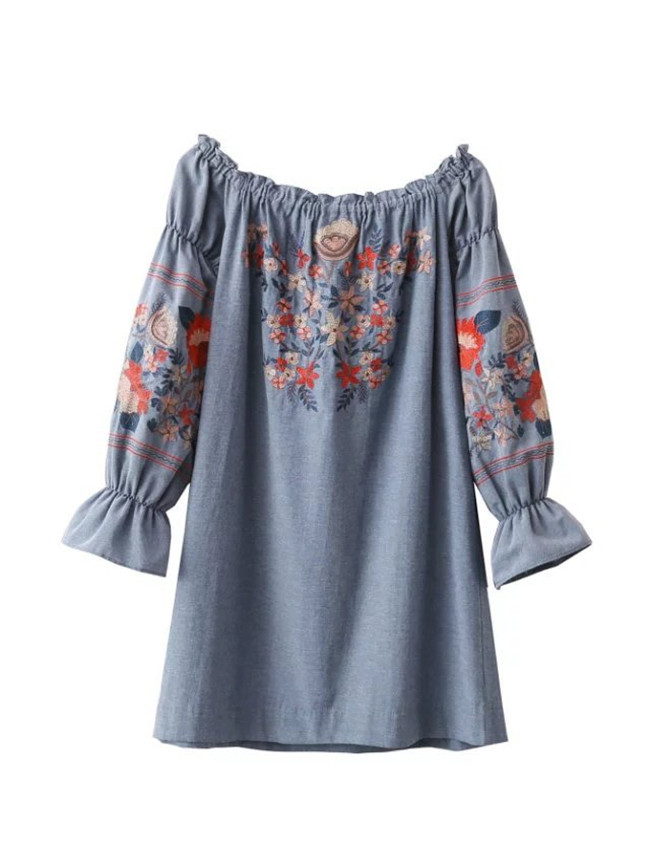 Wholesale Women Dress Casual One Piece Elegant Flower Embroidery Dresses For Women Clothing