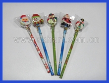 2014HOT Christmas pencil with eraser top