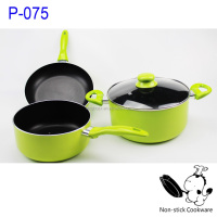 green stamped aluminum nonstick coating milk pot ceramic coated fry pan sauce pot cookware set