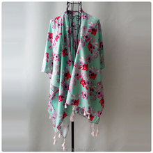 Fashion Ladies scarf shawl With Flowers green