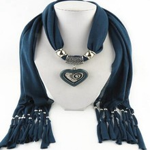 Fashion Women's Elegant Charm Tassels Rhinestone Decorated Jewelry pendant scarf necklace wholesale