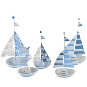 Attraction design blue and white ship boat sail metal nautical wall art decor