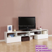 White extendable TV stand