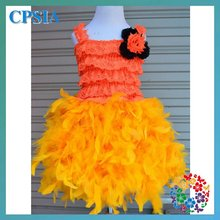 2015 Orange Feather Baby Lace Dress Children Clothes For Girl Party Tutu Gown Dresses