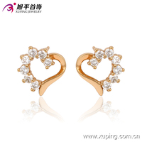 91052-xuping simple design cute jewelry for girls gold plated hollow heart studs earring