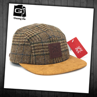 Custom flat brim wool tweed fabric 5 panel cap
