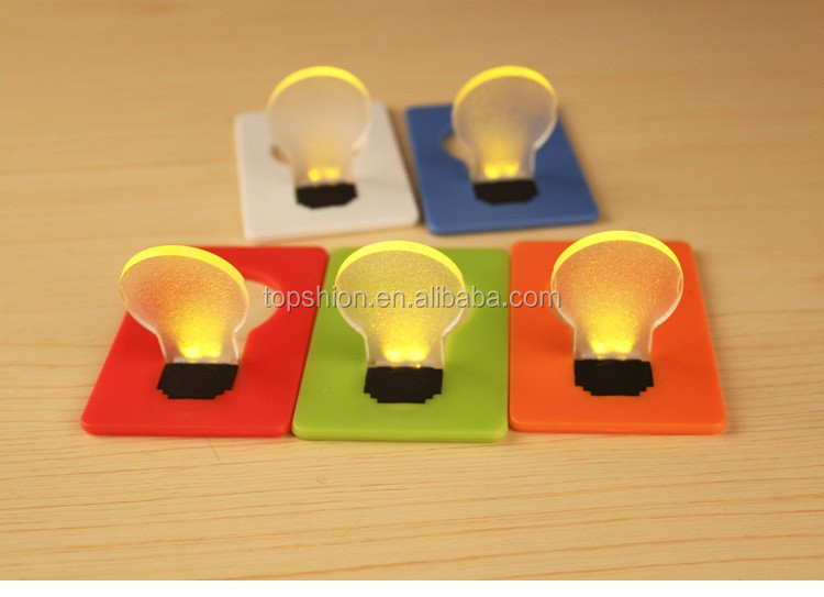Portable led card pocket light bulb lamp,mini led credit card light, christmas card&switch card sharp credit card led light bulb