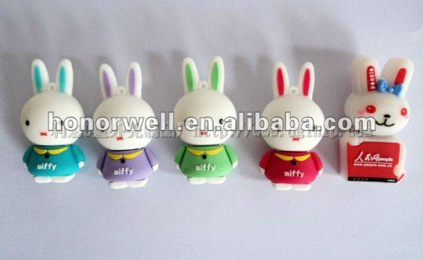 OEM Customize Cartoon Bunny Cartoon Usb Thumb Drive Animal Shape Rabbit elephant