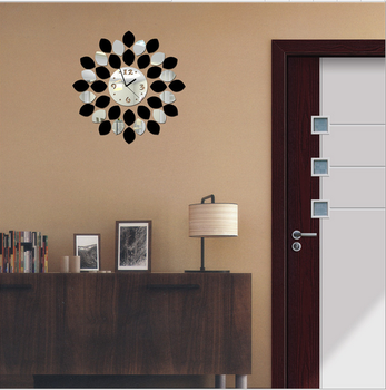 Sun Shaped Mirror White And Black Vinyl Mirror Wall Clock