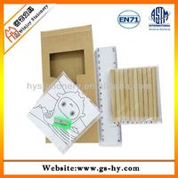 Promotional gift kids drawing coloring pencil stationery set with color book