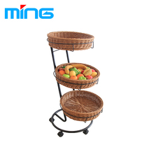 Supermarket Fruit Display Shelf Vegetable Display Rack with PP Rattan Wicker Baskets