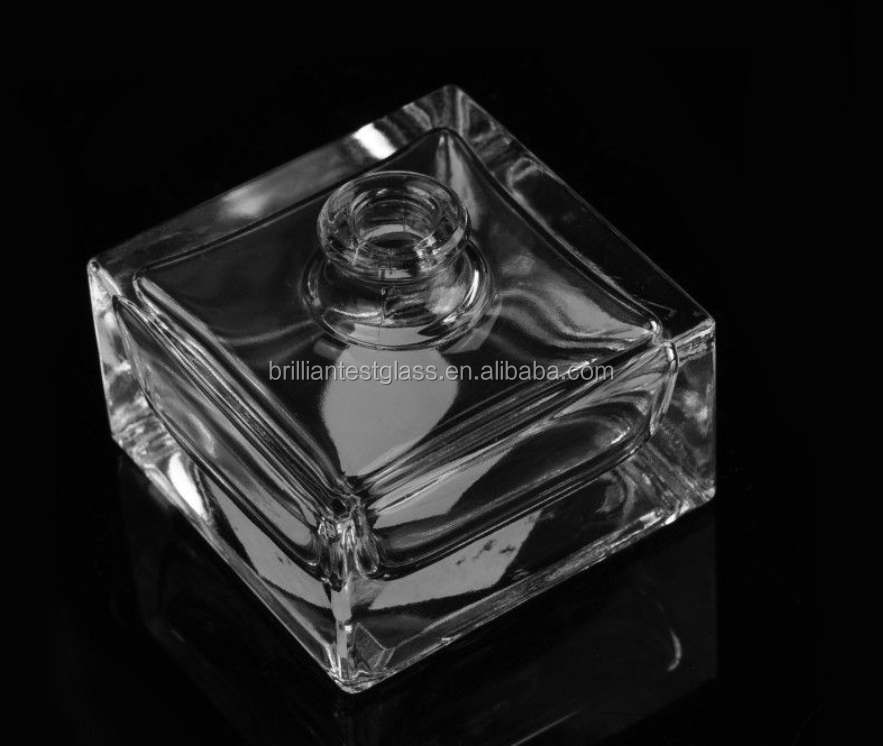 50ml Square Crystal Clear Glass Perfume Bottles/ Refillable aroma cosmetic containers